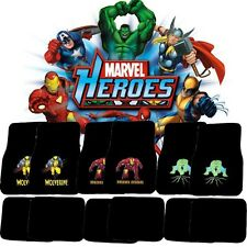 Marvel Avengers Spiderman/Wolverine/Iron Man/Captain/Hulk Car Auto Mats 4pcs Set