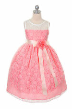 Coral & Ivory Flower Girl Dress  Lace Girls Party Dress, Jnr Bridesmaid Dress