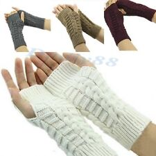 Women Knitted Fingerless Winter Gloves Unisex Soft Warm Mitten Comfortable