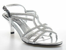 EVENING PARTY WEDDING BRIDAL PROM GOLD SILVER PINK DIAMANTE SANDALS SHOES 108