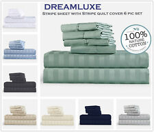 1000TC 100%Egyptian cotton 6 pieces set pillowcase fitted sheet quilt cover