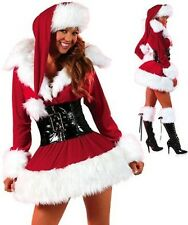 Miss Santa Costume Womans Fancy Dress Sexy Outfit Ladies Christmas 8 10 12