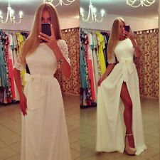 Womens Lace Dress Formal Party Long Prom Gown Sxey Slit Evening Wedding Dress