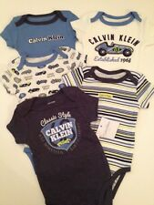 Calvin Klein Baby Boy Bodysuits Rompers Set Blue Cars Size 3 6 9 Months Layette