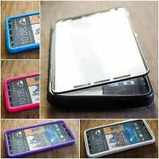 Slim Flip Clear Transparent Gel Case Cover Free Screen Protector For HTC One M7