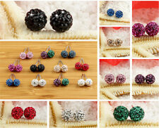 Hot Austrian Crystal Pave Disco Clay Ball Beads Steel Stud Earrings 8mm/10 mm