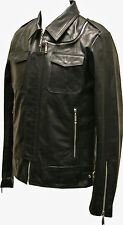 Mens Real Leather Nappa Black Fitted Biker Urban Jacket Zipped Vintage Style