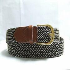 "401 - 1.25"" WIDE ELASTIC BRAIDED NYLON STRETCH BELT, BLACK & BEIGE MIX, 6 SIZES"