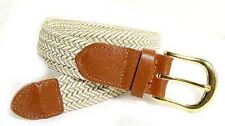 "401 - 1.25"" WIDE ELASTIC BRAIDED NYLON STRETCH BELT, WHITE & BEIGE MIX, 6 SIZES"
