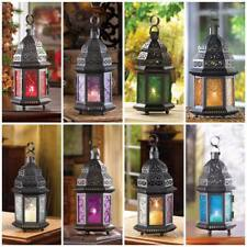 Glass/Iron Moroccan Candle Hanging Lantern, Red, Green, Fuschia, Rainbow & Blue