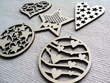 Wooden hearts and stars decorations ornaments  x10  Chrismas, Valentine's Day...