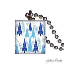 Christmas Tree Winter Forest - Scrabble Tile Pendant Necklace Jewelry - P221