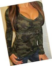 SEXY HUNTER GRN OLiVE STRETCH V NECK LOW CUT CAMO MILITARY T-SHiRT SLiM TOP TEE