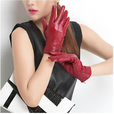 New Women Genuine Sheepskin Leather Winter Warm Soft Elegant Stylish Lined Glove