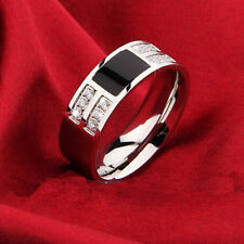 Great Fashion Men's Silver Plated Black CZ Zircon Stainless Steel Rings Size7-13