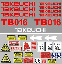 Decal Sticker set for: TAKEUCHI TB016 Mini Digger Bagger Pelle Autocollant