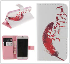 Red Bird Feather Wallet Stand Flip Leather Case TPU Soft Cover For Cell Phones