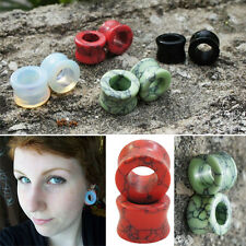 Pair Genuine Organic Natural Polished Stone Ear Tunnels Saddle Gauge 0G - 5/8""