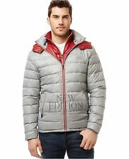 Buffalo Men's Winter Hooded Quilted Down Bubble Coat Puffer Jacket Grey & Red