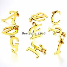 Gold Tone Scipt A-Z Initial Letter Stainless Steel Men Women Pendant Necklace