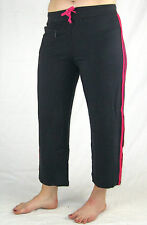 LADIES Activewear 3/4 Tracksuit Gym Yoga Pants (3108) Black Pink  8 10 12 14 16