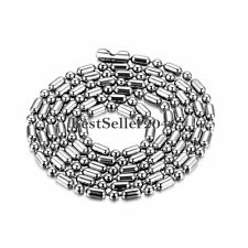 Silver Stainless Steel 2mm / 2.4mm Ball and Oval Bead Chain Mens Ladies Necklace