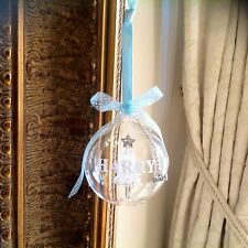 Personalised Christmas glass Bauble with Tree inside Decoration Baby 1st gift