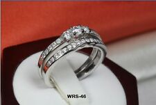 ROUND 0.64 C STERLING SILVER 925 CZ CLASSIC ENGAGEMENT WEDDING RING SET WRS46-MS