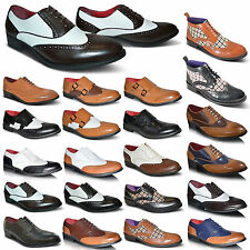 NEW MENS LEATHER ITALIAN SMART ROUND TOE LACE UP BROGUES FORMAL SHOES BOOTS SIZE