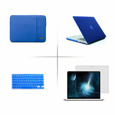Blue Rubberized Hard case Sleeve bag keyboard cover For Apple macbook Pro Air
