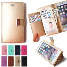 Leather Wallet case Flip cover credit card holder bumper purse for Galaxy S6 lot