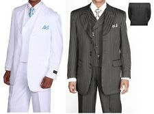 "Men's 3pc Suit Striped Tone on Tone 34"" Jacket + Pants + Vest 2 Colors 29197"