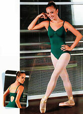 NEW! WOMENS DANCE BALLET CAMI LEOTARD WITH FLAT STRAPS. 3 COLORS! (D311)