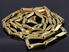 Stainless Steel V-Cut Bullet Link Gold Finish Chain Mens Stylish Necklace New