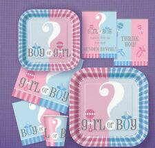 Baby Shower GENDER REVEAL Party Blue Pink Unisex Girl Boy Tableware Decorations