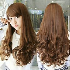 Free Shipping 70cm Girls Sexy long straight curly Wigs ~ Full Wigs Xmas Gift tb