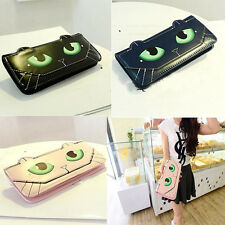 Supreme Women Gril Cute Cat Eyes Long Pattern Trifold Leather Wallet CA HF