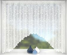 BELLA PRETTY FLORAL WHITE NET CURTAIN JARDINIERE ~ Many Sizes Available