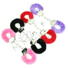 Sexy Stylish Soft Metal Adult Hen Night Party Game Gift Furry Fuzzy Handcuffs
