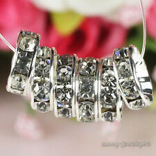 Silver Plated Czech Crystal Rhinestone Rondelle Spacer Beads 4mm,6mm,8mm,10mm