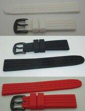 20mm Silicone Rubber Watch Strap + Blackout steel buckle design black red white