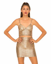 Motel Rocks Gold Foil Crackle Metallic Montana Girls Crop Top Ladies Bralet