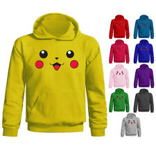 Youth Kids Childrens Pikachu Face Pokemon Character Hoodie Age 5-13 Years