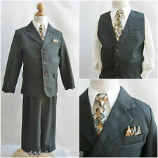 Cute LTO Dark olive pinstripe/ivory shirt toddler boy wedding party formal suit