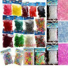 600 Pcs Bags DIY LOOM RUBBER BAND REFILLS 24 Clips rainbow Colors Craft Bracelet