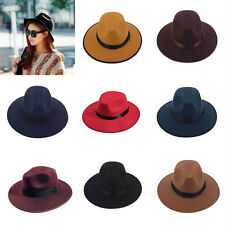Vintage Women Wide Brim Ribbon Warm Wool Blend Felt Hat Bowler Trilby Fedora Cap