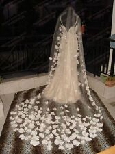 Custom Made High Quality Ivory 3M Long Cathedral Lace Purfle Bridal Wedding Veil