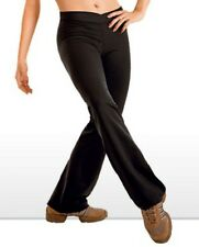 NEW! WOMENS BLACK FLARED PANTS WITH V CUT WAIST. LYCRA SPANDEX. (D296)