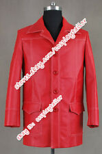 Brad Pitt Cosplay Tyler Durden Costume Fight Club Red Leather Jacket Men's Coat