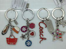 NEW Coach Key Chain Ring Fobs Accessory Snowflakes Coach Script 2 Stars Pick One